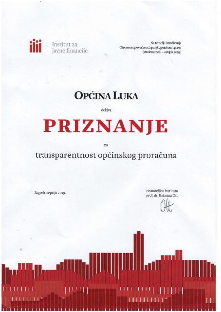 Photo of PRIZNANJE ZA TRANSPARENTNOST OPĆINSKOG PRORAČUNA