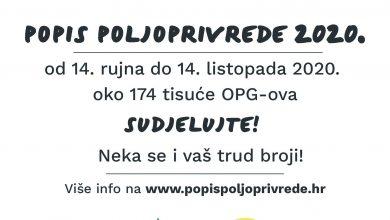 Photo of POPIS POLJOPRIVREDE 14. RUJNA DO 14. LISTOPADA 2020. GODINE